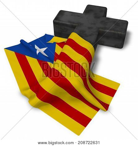 christian cross and flag of catalonia - 3d rendering