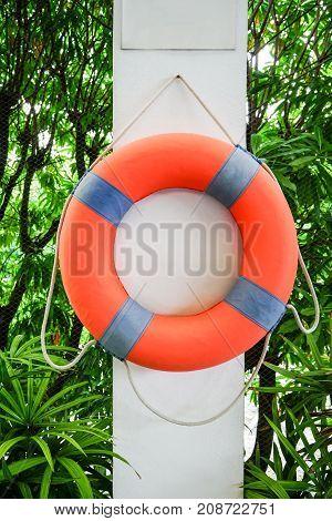 Orange Lifesaving Float hanging on white concrete with nature background