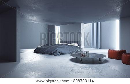 Abstract Concrete Bedroom Interior