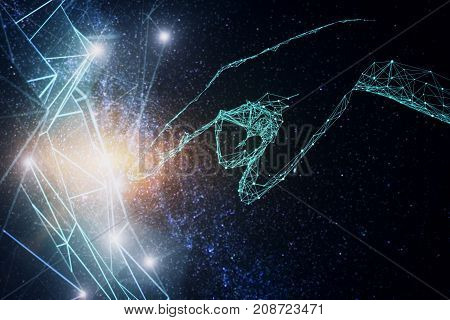Polygonal hand pointing at abstract mesh on space sky background. Technology concept. 3D Rendering