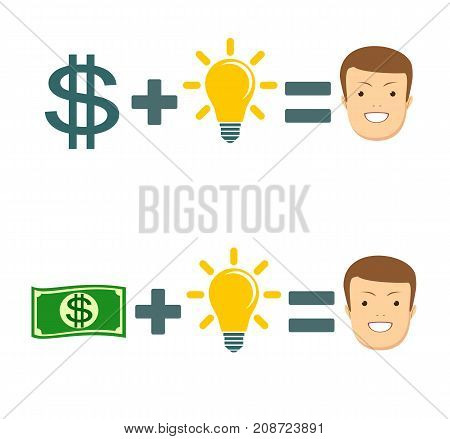 Money and ideas equal happiness. Stock vector illustration for poster, greeting card, website, ad, business presentation, advertisement design.