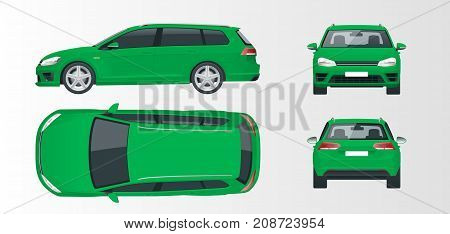 Vector green hatchback car. Compact Hybrid Vehicle. Eco-friendly hi-tech auto. Easy color change. Template vector isolated on white View front, rear, side, top.