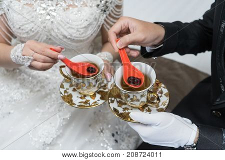 Wedding marriage ceremony drink tea with angco