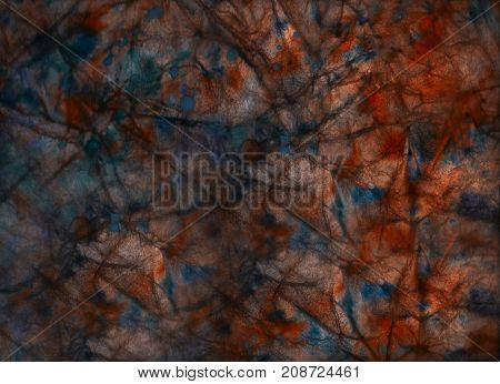 Red and blue watercolor grunge background - texture of crumpled paper with ink drops. Wallpaper