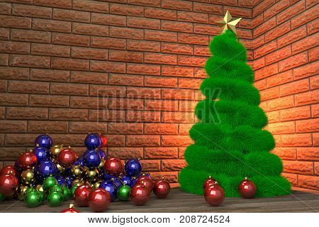 Christmas tree and heap of baubles in the room corner 3d rendering