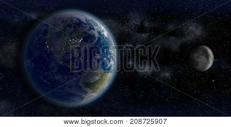 3D Rendering of the Earth and the Moon, from space on a star field backdrop, showing the North American continent night shaded, for scientific and space business-related backgrounds.