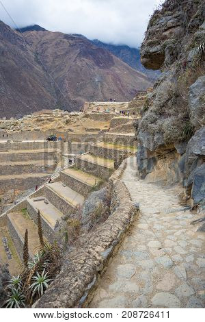 The Archaeological Site At Ollantaytambo, Inca City Of Sacred Valley, Major Travel Destination In Cu