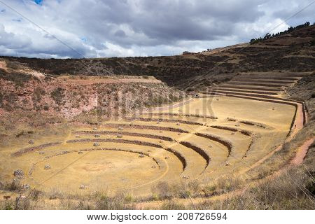 The Archaeological Site At Moray, Travel Destination In Cusco Region And The Sacred Valley, Peru. Ma