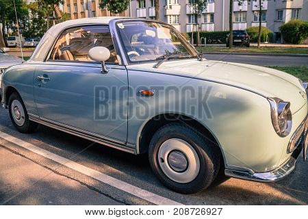Vintage Nissan Figaro pastel color rare only 20.000 examples Vienna Austria July 2017