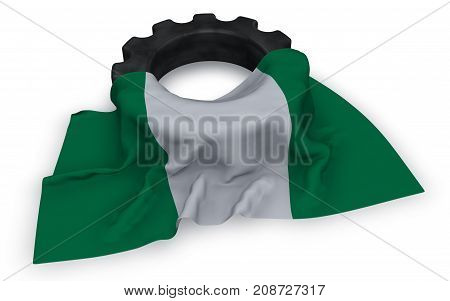 gear wheel and flag of nigeria - 3d rendering