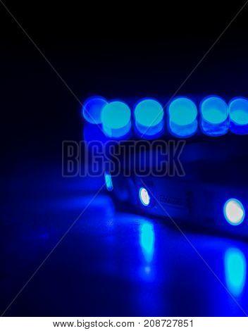 Led strip lights isolated on Black Background