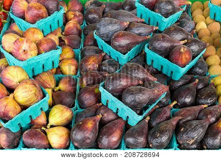 Black Mission Figs at Fruit Stall in Public Market