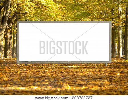 Mock up Billboard on a Golden Alley in autumn isolated white Ad Advertisementbillboard clipping path