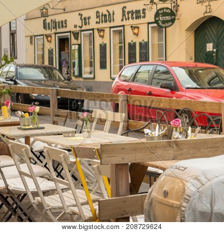 Outdoor seats and tables European cafe Restaurant Vienna 25 August 2017