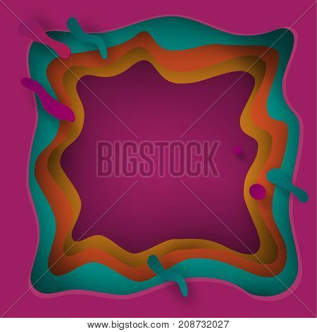 Cut paper festive abstract background, 3D paper art frame, cut paper texture with colorful paper layers. Holiday invitation background, brochure cover template, business card, craftsmanship, banner, layout vector