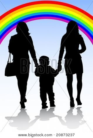 Vector image of family of two women and a baby