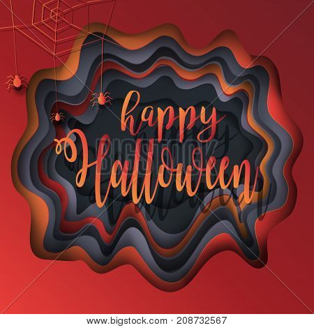 Halloween. Halloween party. Halloween greeting card cut paper 3D Art background. Halloween illustration with Halloween web spider, pumpkin color, Halloween Holiday. Halloween vector illustration. Craftsmanship Paper cut, cutting paper, crafts  texture.
