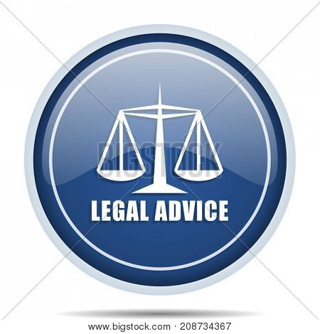 Legal advice blue round web icon. Circle isolated internet button for webdesign and smartphone applications.