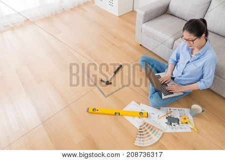 High Angle View Of Pretty Elegant Female Engineer