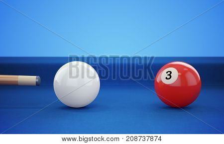 Cue hitting red ball number 3 on defocused blue billiard ball background. 3D illustration