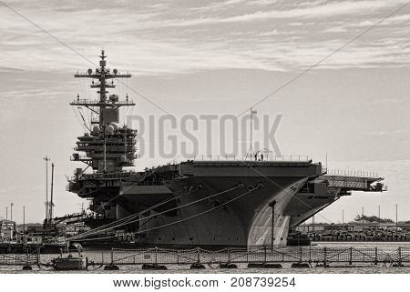 Naval Aircraft Carrier Ship in Sepia Tones