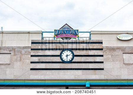 Silver Spring, Usa - September 16, 2017: Downtown Area Of City In Maryland With Large Sign On Mall B