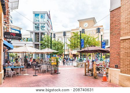 Silver Spring, Usa - September 16, 2017: Downtown Area Of City In Maryland With Shopping Mall, Resta