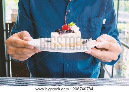 Blueberry cheesecake on dish holding by hand for eating,slice and piece of cake