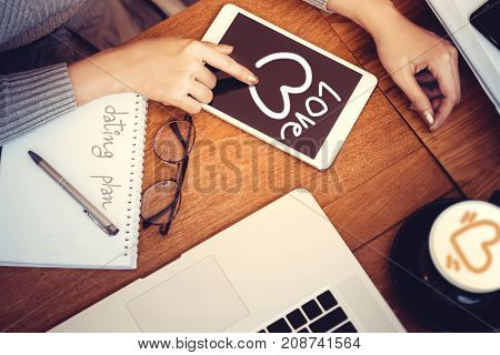 young woman using mobile phone to find information for dating plan with lover. Dating Romance Love Concept