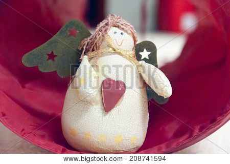 Beautiful Christmas angel with wings for the holidays