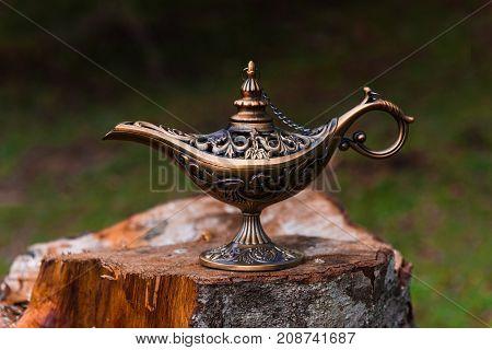 Old Magic Lamp of Aladdin on nature
