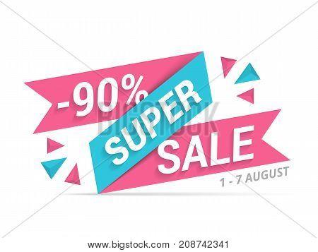Super sale banner, 90% off, vector eps10 illustration