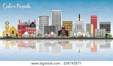 Cedar Rapids Iowa Skyline with Color Buildings, Blue Sky and Reflections. Business Travel and Tourism Illustration with Historic Architecture.