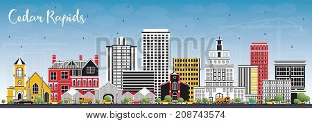 Cedar Rapids Iowa Skyline with Color Buildings and Blue Sky. Business Travel and Tourism Illustration with Historic Architecture.