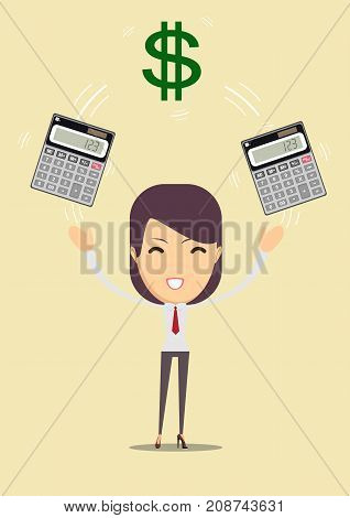 Accountant or manager enjoying her work, she shows the calculator to work and money. For use in presentations. Stock Vector illustration