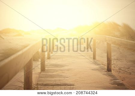 Wooden footpath through dunes at the ocean beach in Portugal