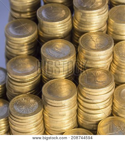 full frame picture showing lots of 1 euro coins