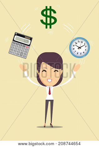 Bookkeeping services and time management. Profit, finances concept. Vector, flat illustration