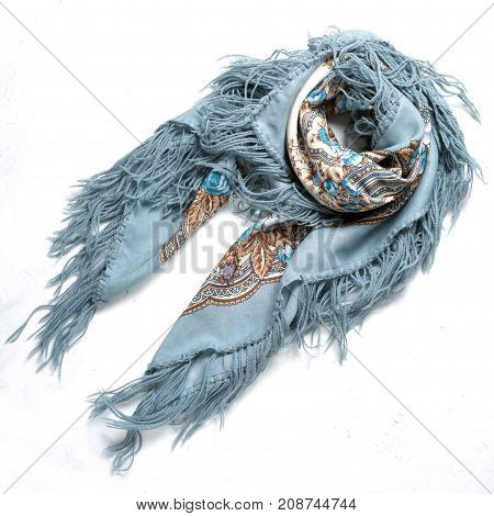 Wool Kerchief With Floral Pattern And Fringe On White Background