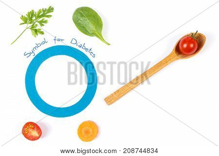 Symbol Of Fighting Diabetes And Fresh Vegetables, Healthy Nutrition Concept