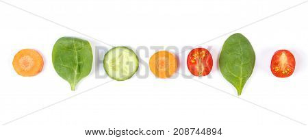 Fresh Ripe Vegetables On White Background, Healthy Food Concept