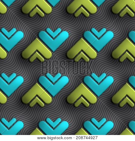 3D render of plastic background tile with embossed opposite arrowheads ornament