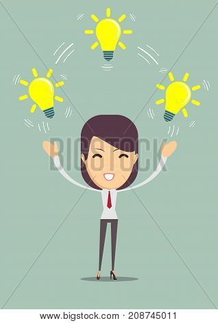 businesswoman showing she has an idea. Woman with a bright idea. Stock flat vector illustration.