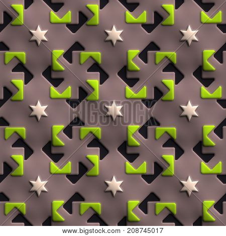 3D render of plastic background tile with embossed square mill ornament