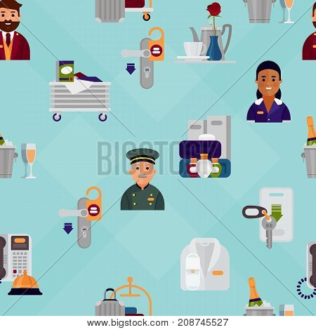 Hotel workers personal professional service man and woman job uniform objects hostel manager vector illustration. Receptionist travel tourism household tools seamless pattern background