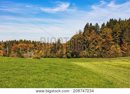 View on Mt. Uetliberg in Switzerland in autumn. The Uetliberg is a mountain rising to 870m, offering a panoramic view of the entire city of Zurich and Lake Zurich from its top.