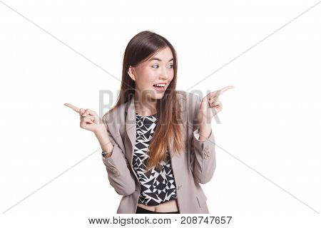 Young Asian Woman Point To Left And Right.