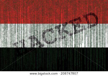 Data Hacked Yemen Flag. Yemen Flag With Binary Code.