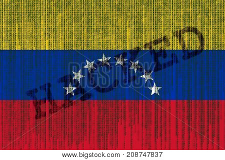 Data Hacked Venezuela Flag. Venezuela Flag With Binary Code.