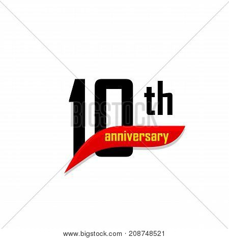 10th Anniversary abstract vector logo. Ten Happy birthday day icon. Black numbers witth red boomerang shape with yellow text 10 years